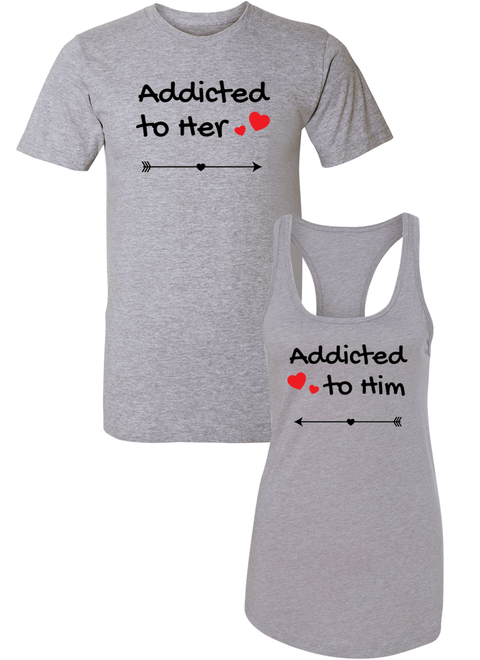 Addicted To Her & Him - Couple Shirt Racerback