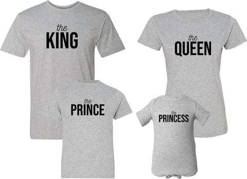 King Queen Prince & Princess Shirts - Family Shirts