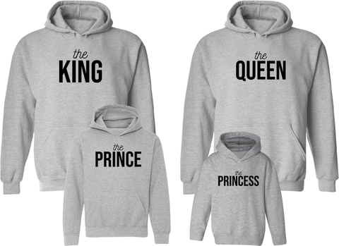 King Queen Prince & Princess Hoodies - Family Hoodies