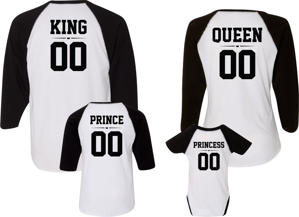 King Queen Prince & Princess Raglans - Family Raglans
