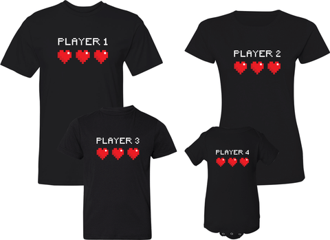 Player 1 Player 2 Player 3 Player 4 - Family Shirts
