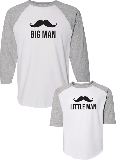 Big Man & Little Man - Dad & Kid Raglans - Family Raglans