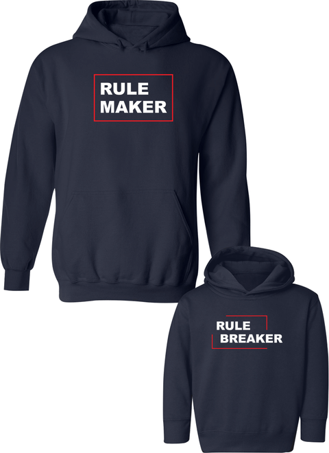 Rule Breaker & Rule Maker - Mom & Kid Hoodies - Family Hoodies