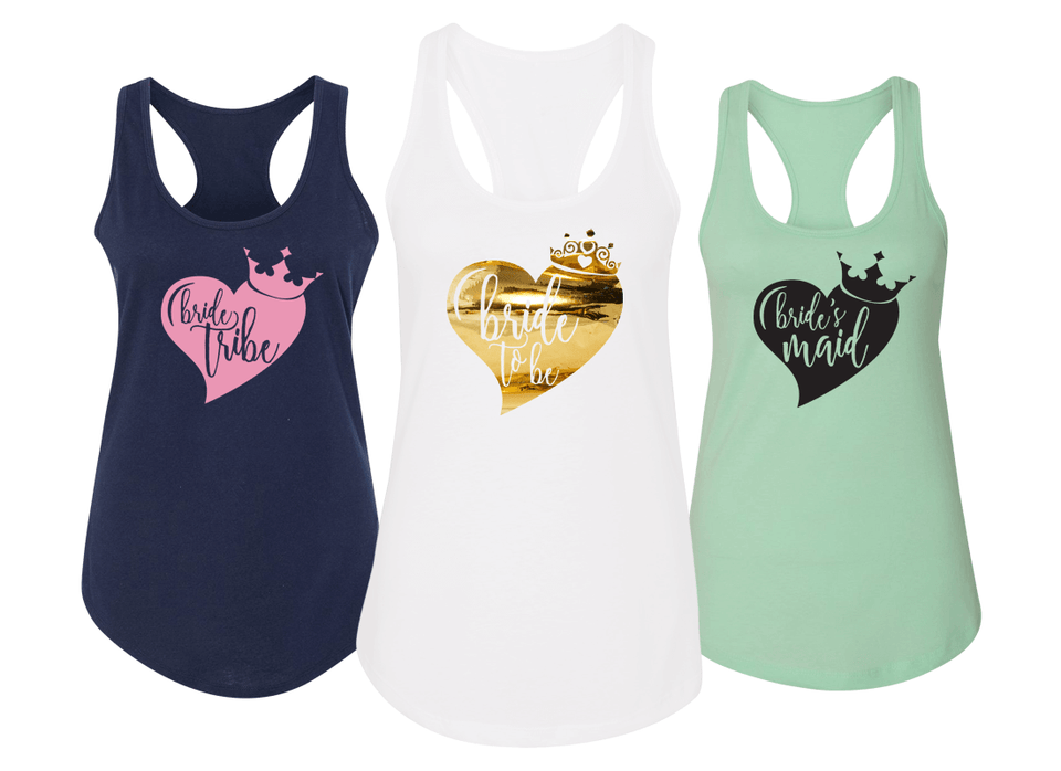 Big Heart and Crown - Bachelorette Party Racerbacks - Wedding Racerbacks