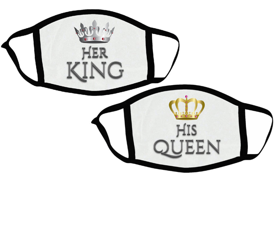 Her King & His Queen - Couple Face Masks