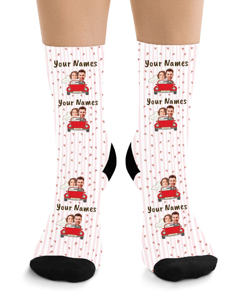 Bride & Groom in Red Car - Couple Face Socks