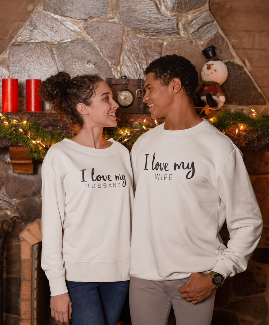 I Love My Wife & Husband - Couple Sweatshirts