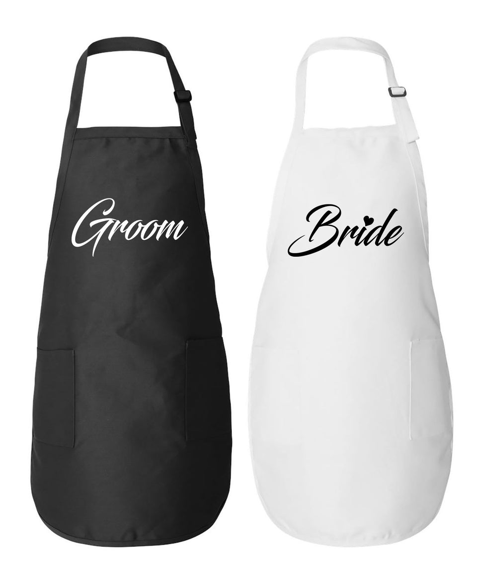 Groom & Bride - Couple Aprons