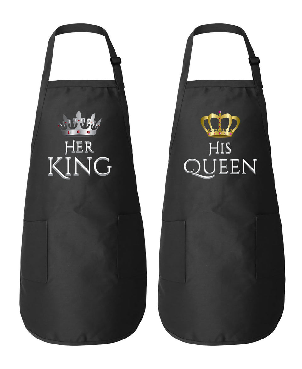 Her King & His Queen Couple Matching Aprons