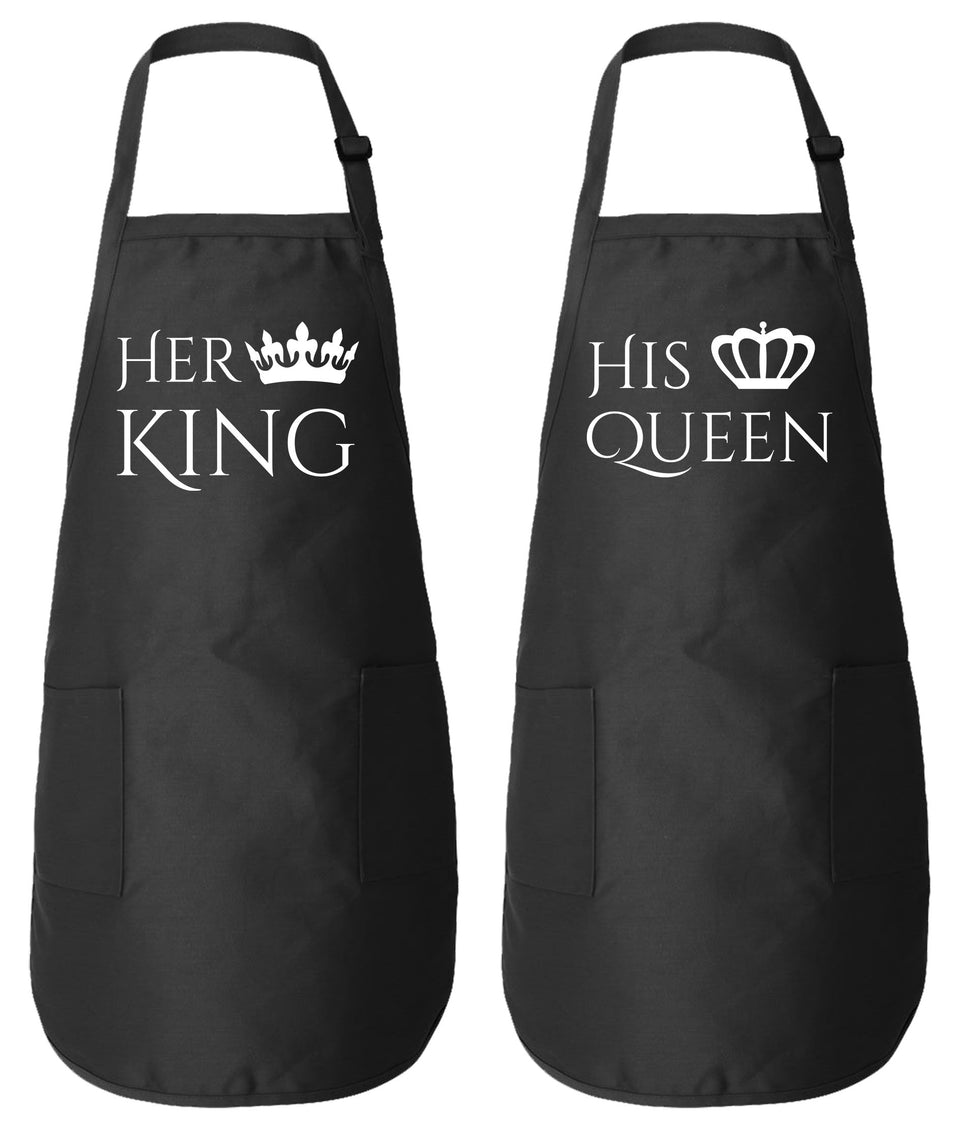Her King His Queen Couple Matching Aprons