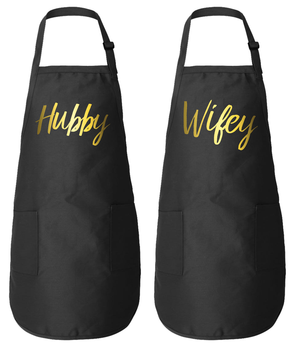 Hubby Wifey Matching Couple Aprons