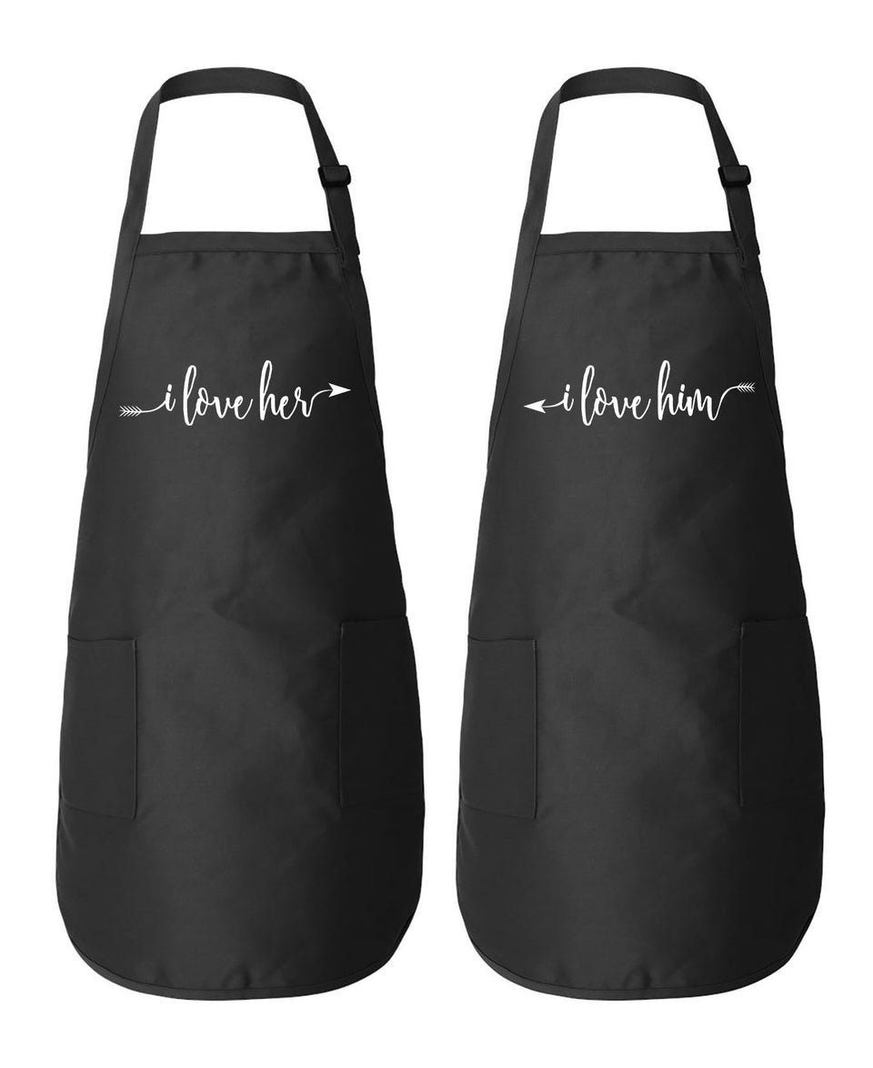 I love Her & Him - Couple Aprons