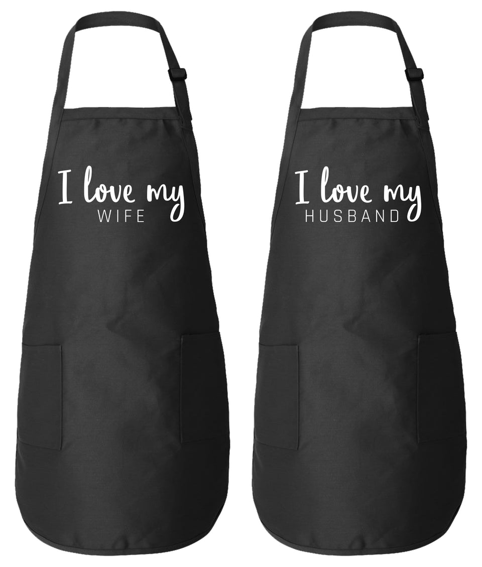 I Love My Wife & I Love My Husband - Couple Matching Aprons