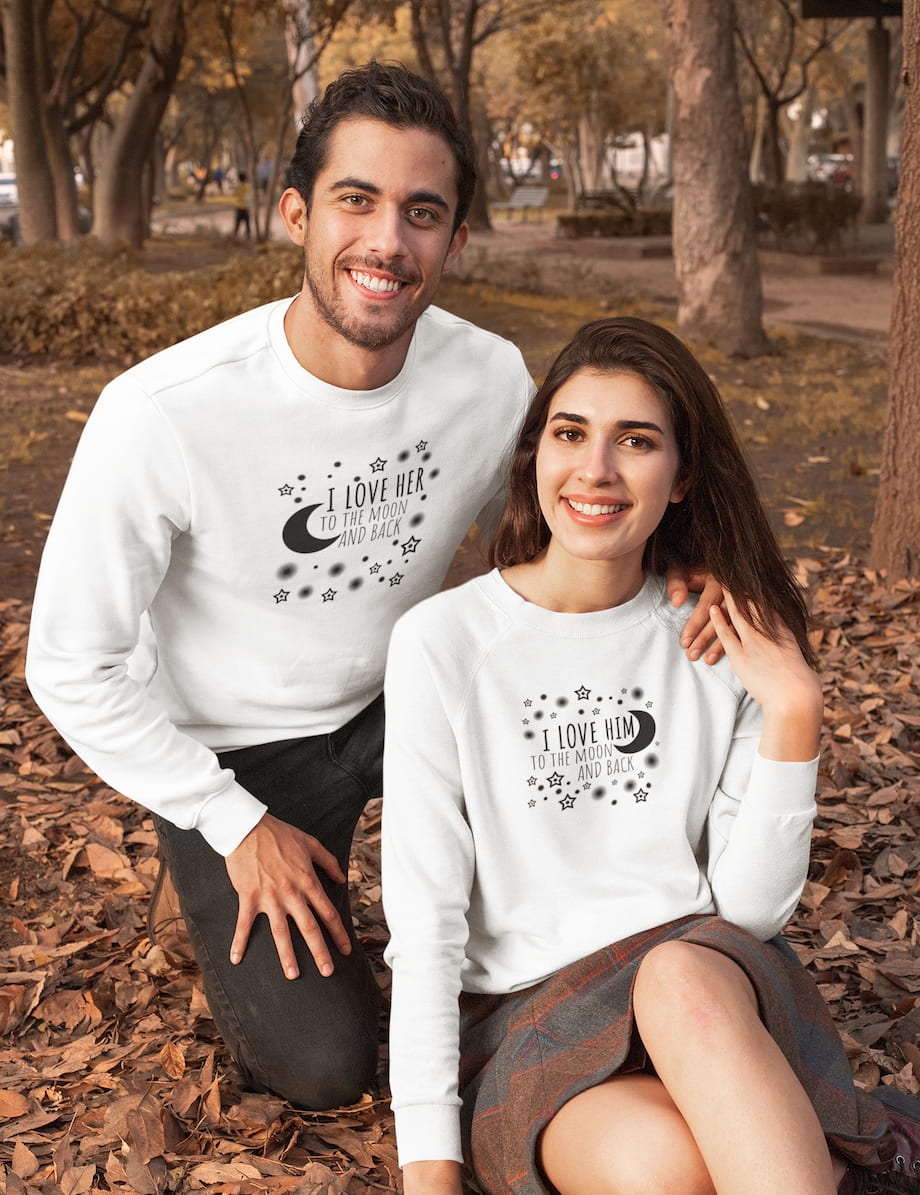 I Love Her & Him To The Moon And Back - Couple Sweatshirts