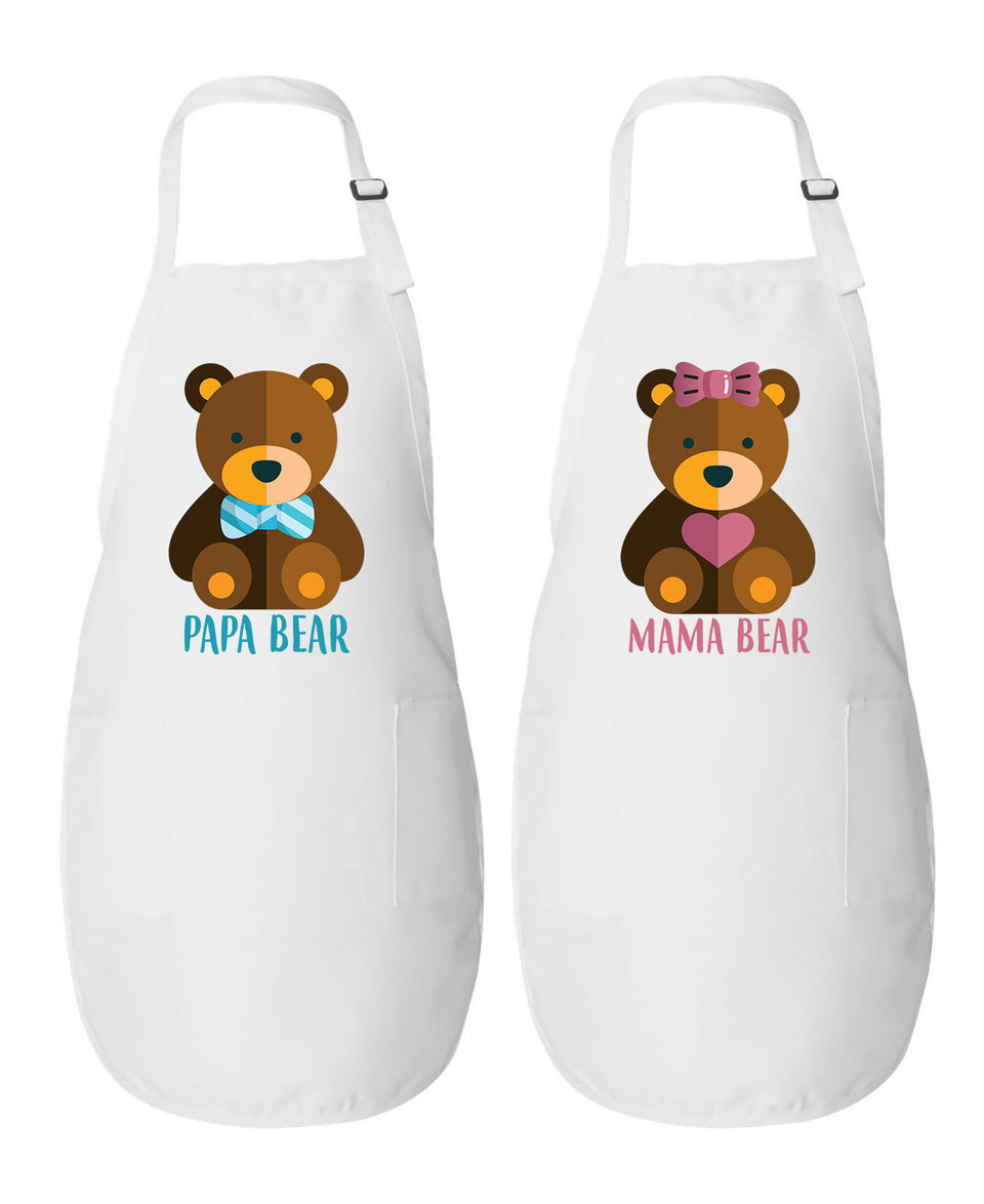 Papa Bear & Mama Bear - Couple Aprons
