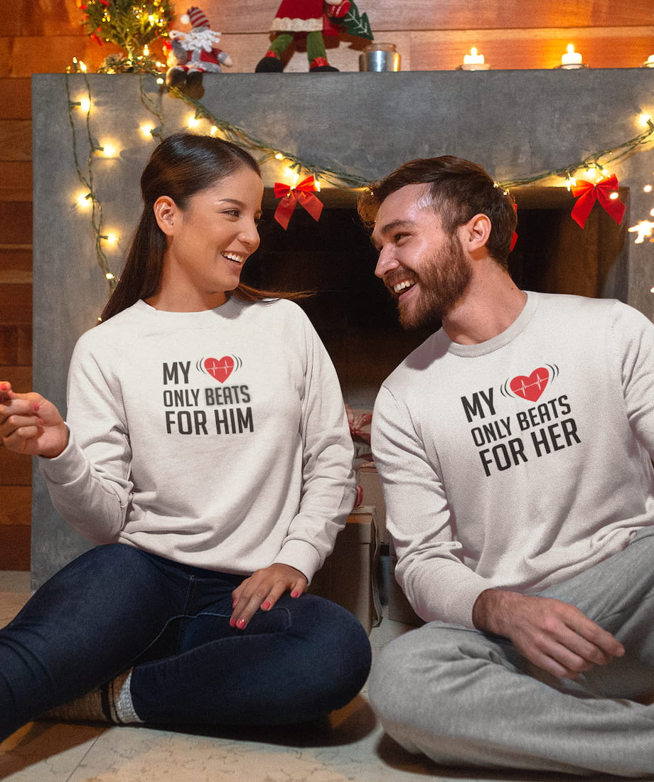 My Heart Only Beats For Her & Him - Couple Sweatshirts