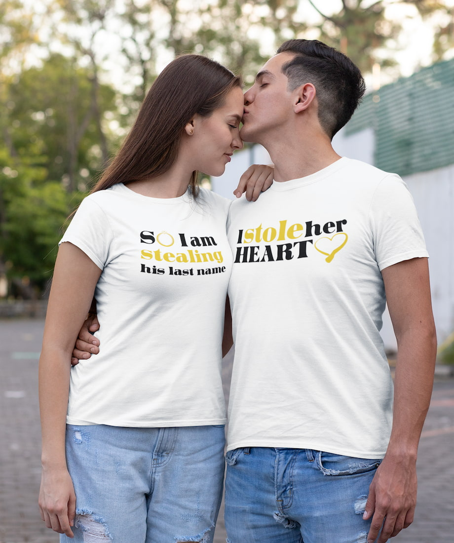 I Stole Her Heart & So I Am Stealing His Last Name - Couple Shirts