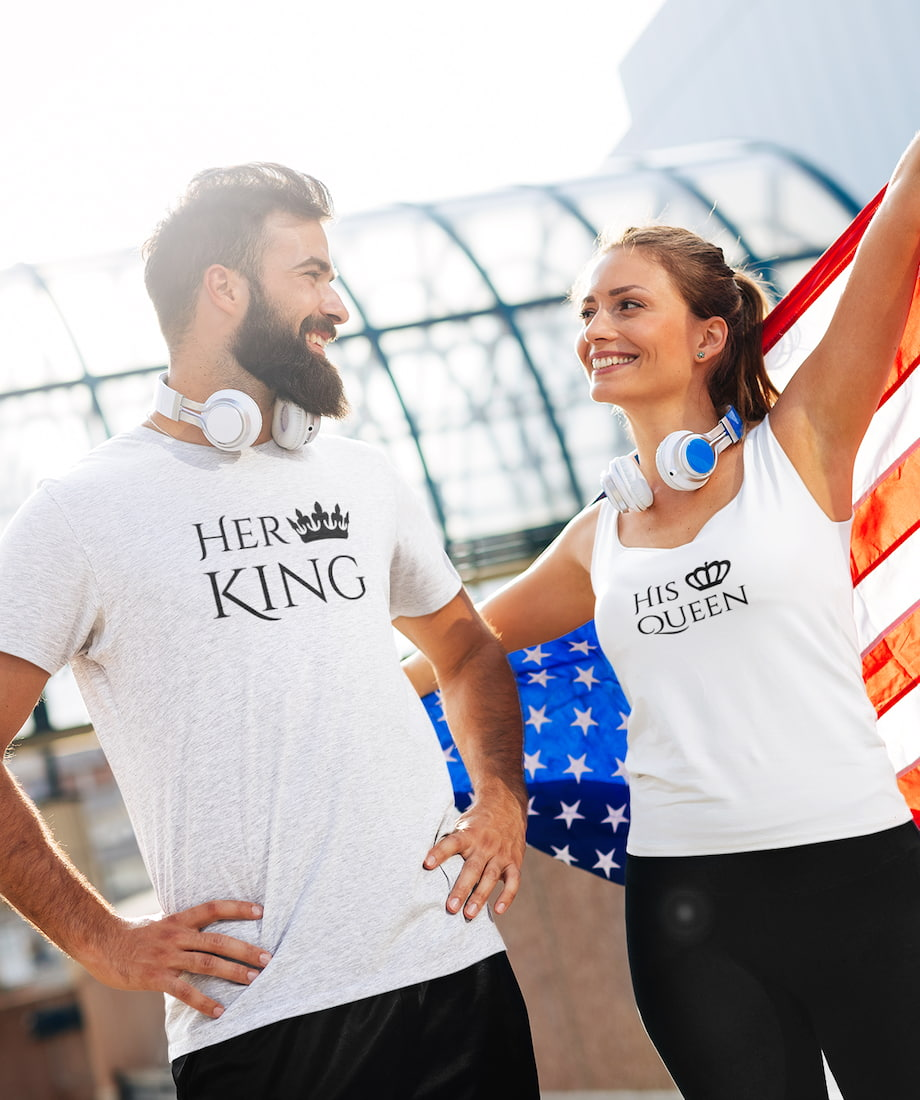 Her King & His Queen - Couple Shirt & Racerback