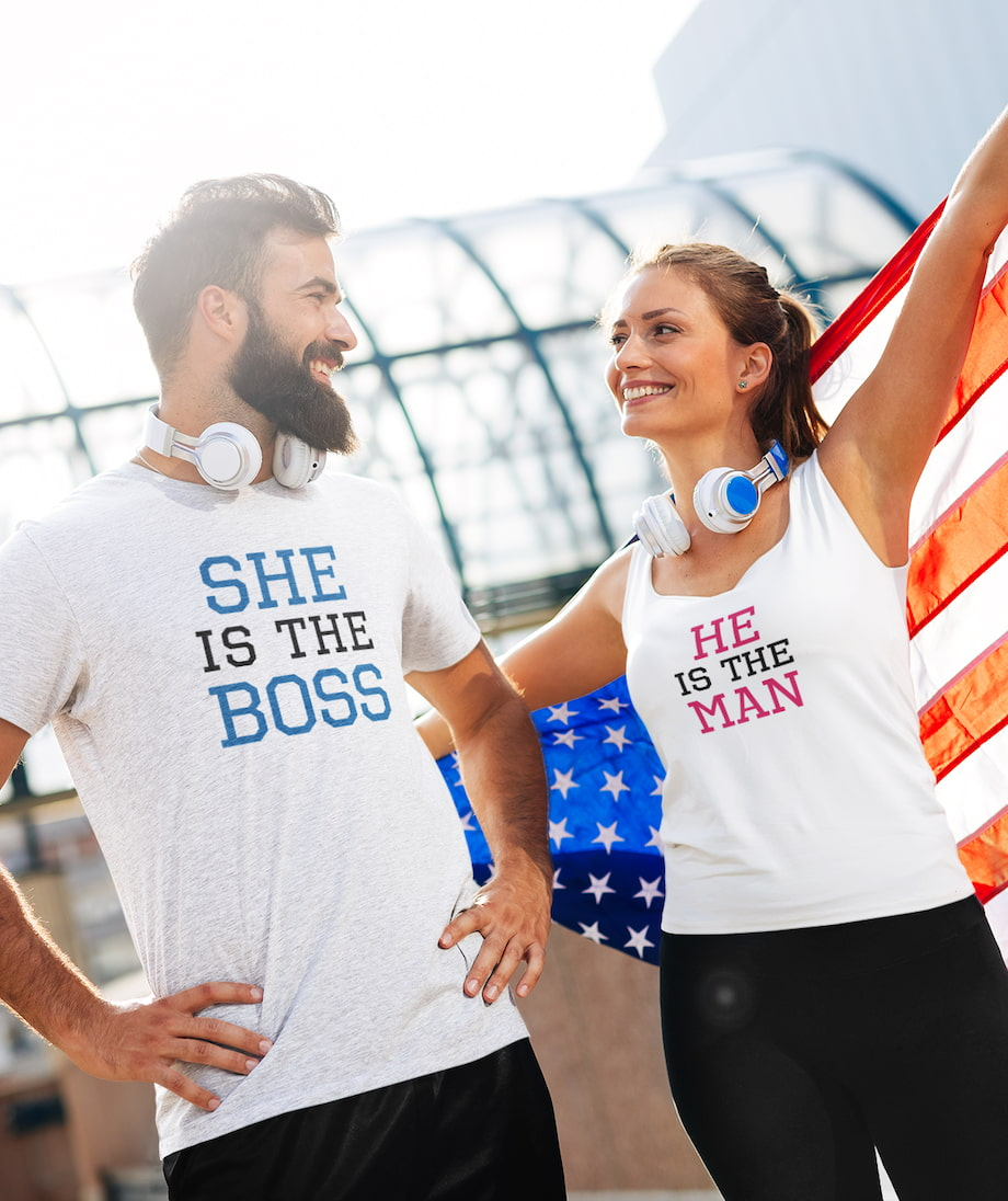 She Is The Boss & He Is The Man - Couple Shirt & Racerback