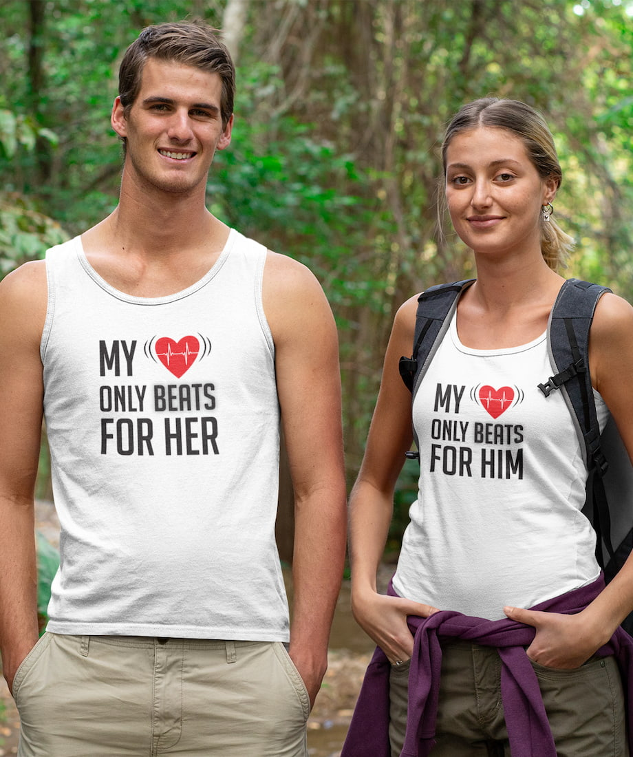 My Heart Only Beats For Her & Him - Couple Tank Tops