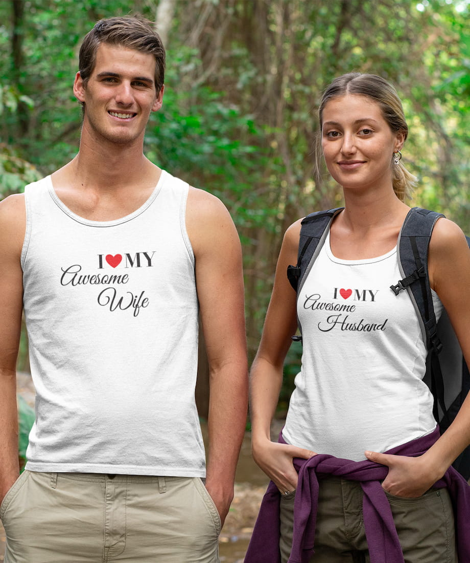 I Love My Awesome Wife & Husband  - Couple Tank Tops