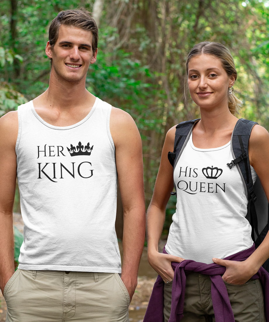 Her King & His Queen - Couple Tank Tops
