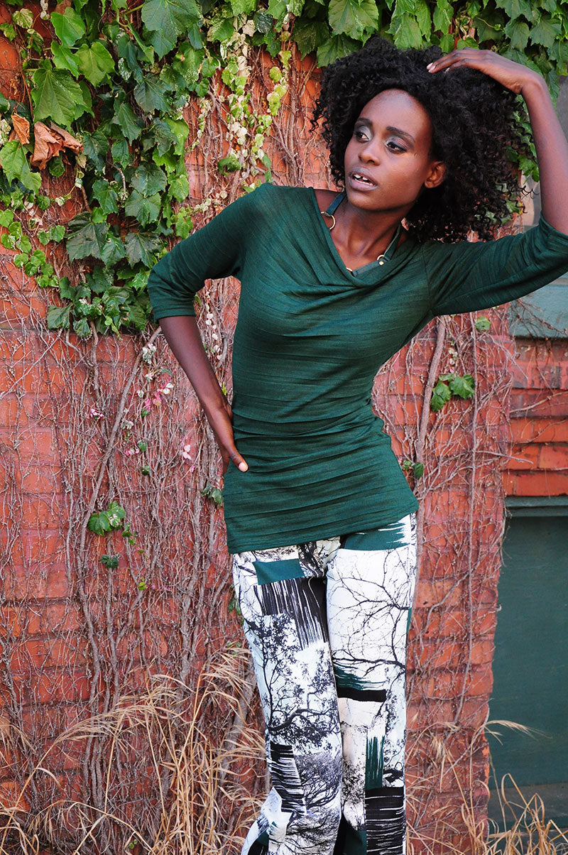 Cigarette Pants, Cowl Neck Forest Green Top