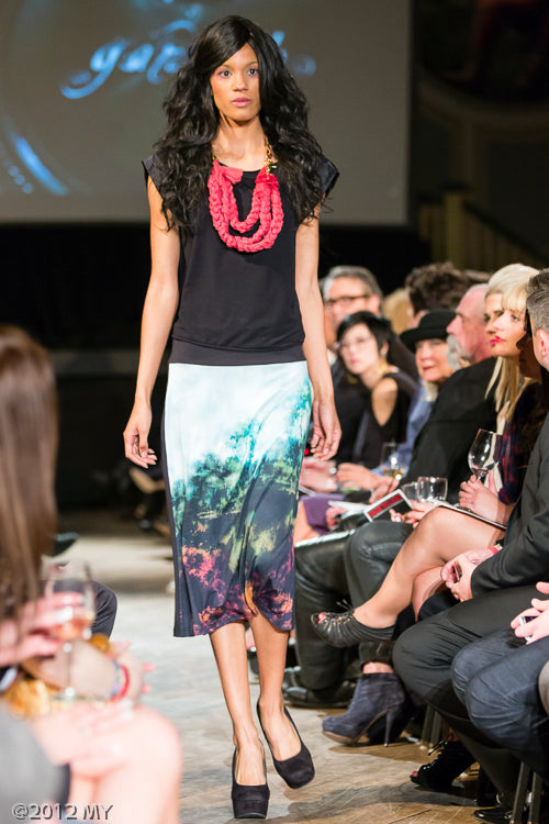 Knit Skirt with Digital Print and Coral 3 Tier Silk and Leather Necklace