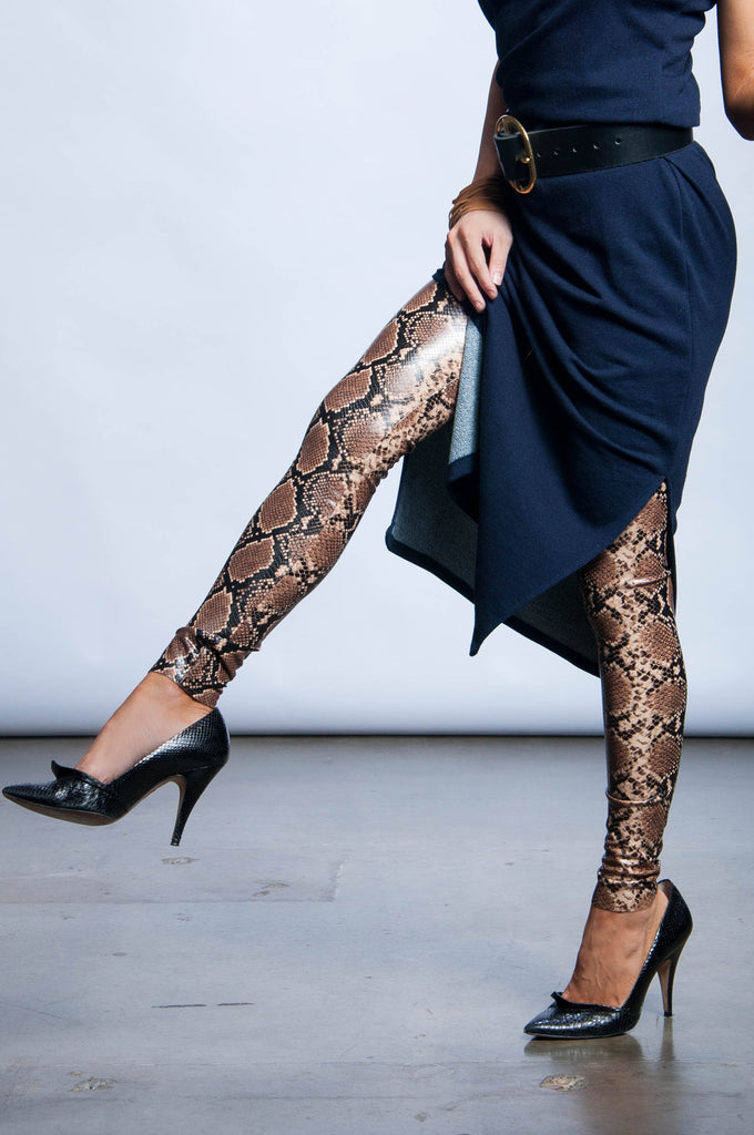Faux Leather Leggings - Snakeskin