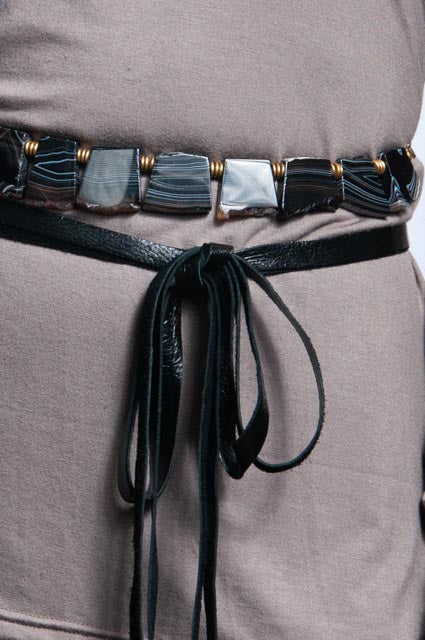 Black and white Agate Belt/Necklace - Raw Squares