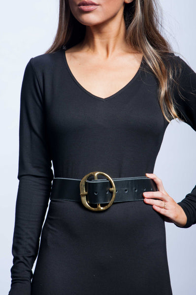 Back Off Belt - Black Leather with Gold