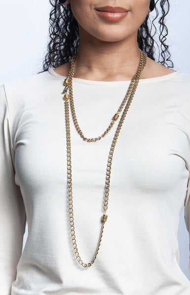 Chunky Brass Wrap Necklace