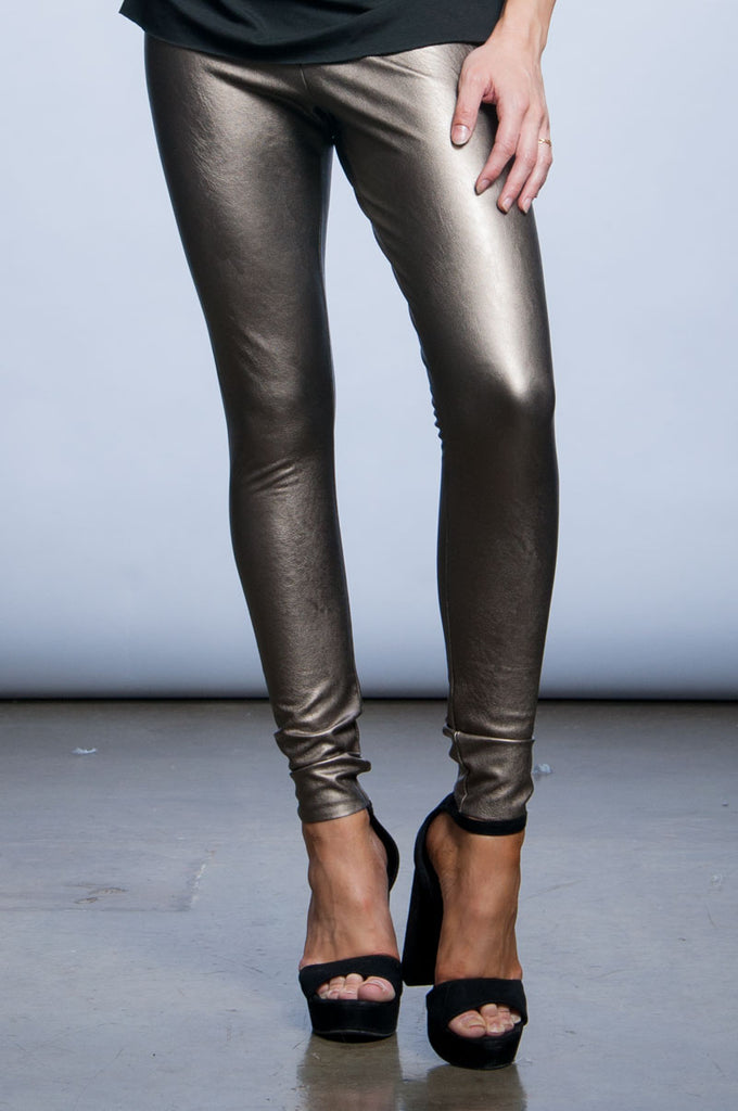 Faux Leather Leggings - Gold