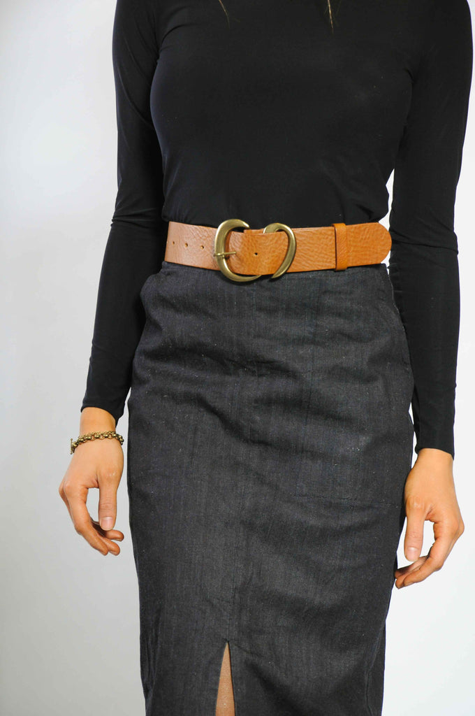 French Curve Belt - Cognac