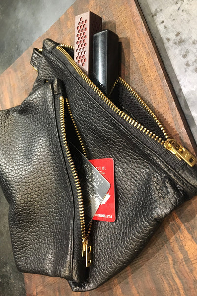 Zippered Pouchette - Butter Black Leather