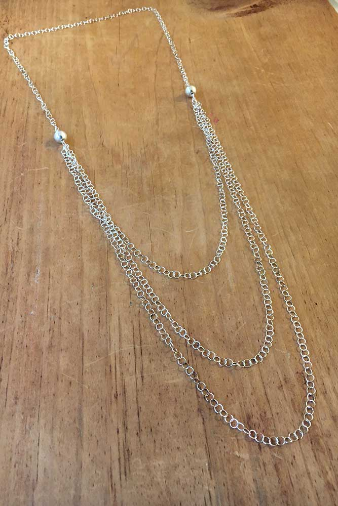 Triple Strand Necklace - Silver