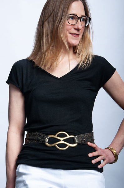 Infinity Waist Belt - Black/Gold Snake