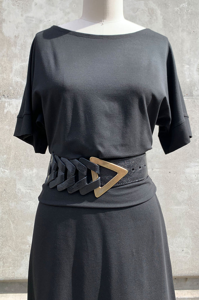 Arrow Belt - Black Leather