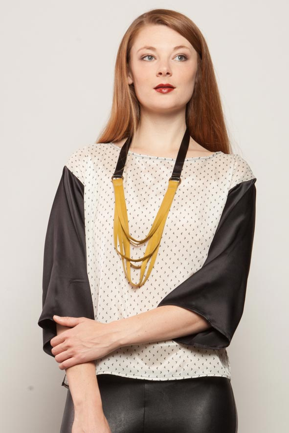 Triple Strand Leather Necklace - Mustard/ Black
