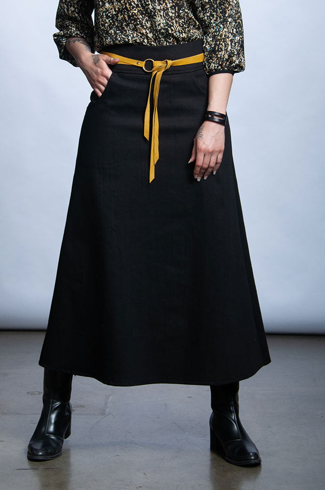 LONG LILLIAN SKIRT - BLACK DENIM