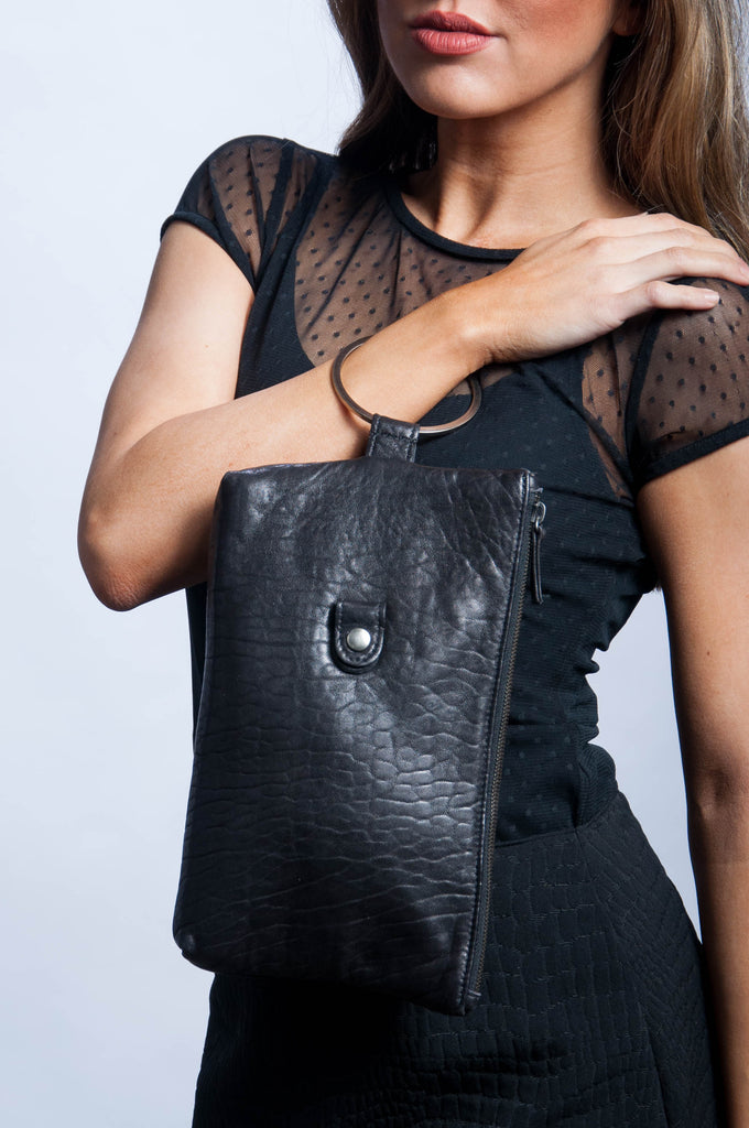 Ring Clutch - Black Leather