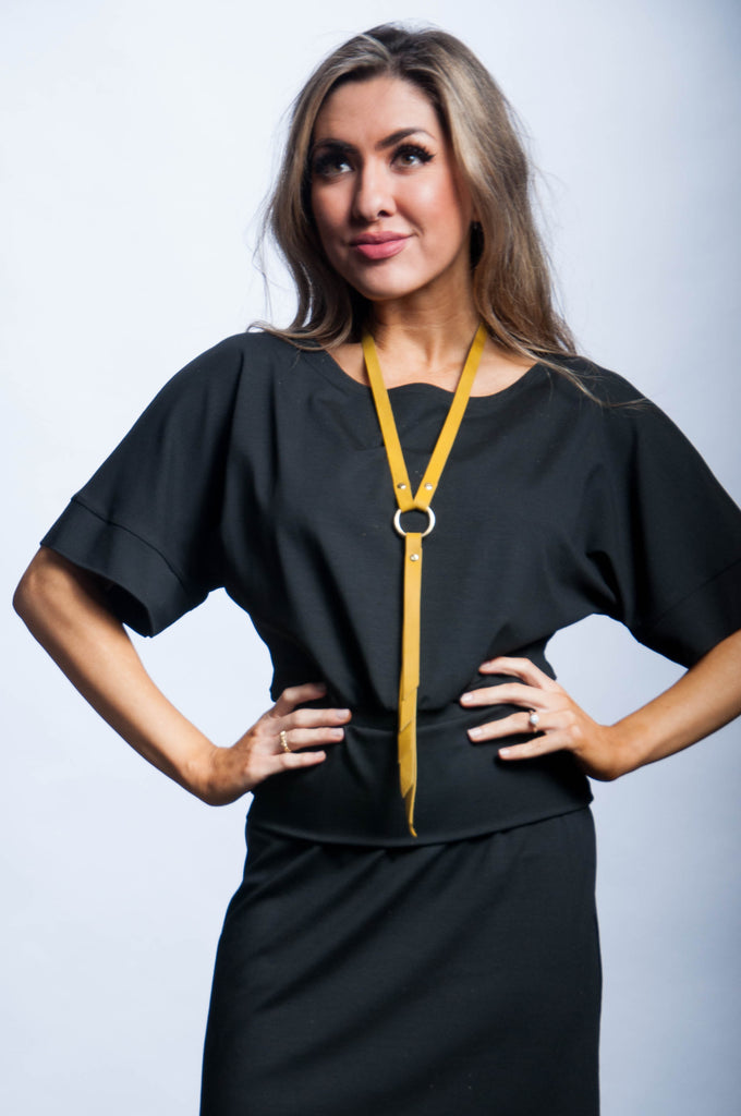 Ring Keeper Leather Necklace - Mustard