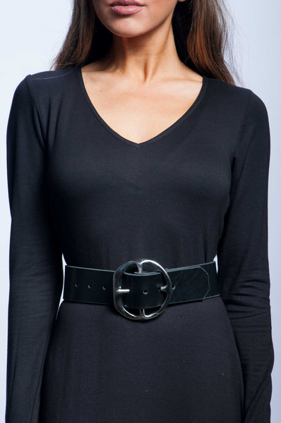 Back Off Belt - Black Leather with Silver