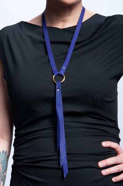 Ring Keeper Leather Necklace - Cobalt