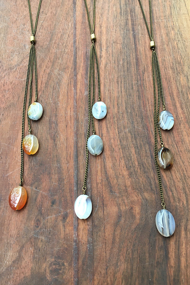 Three Tears Necklace - Montana Agate