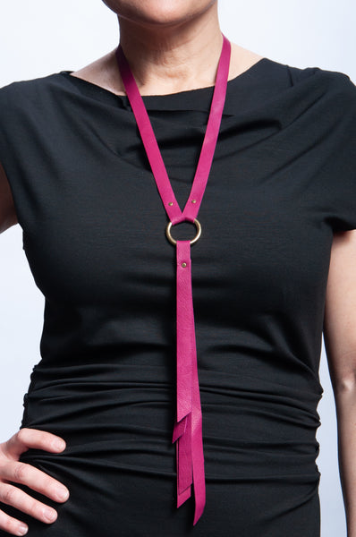 Ring Keeper Leather Necklace - Fuchsia
