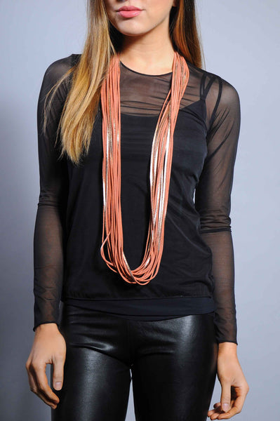 Strand Long Leather Necklace - Rose Gold