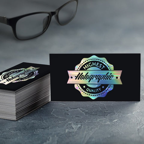 Raised Holographic Foil Suede Business Card - Suede & Raised Foil