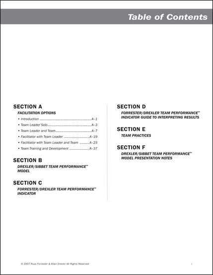 Team Performance Indicator Application Handbook