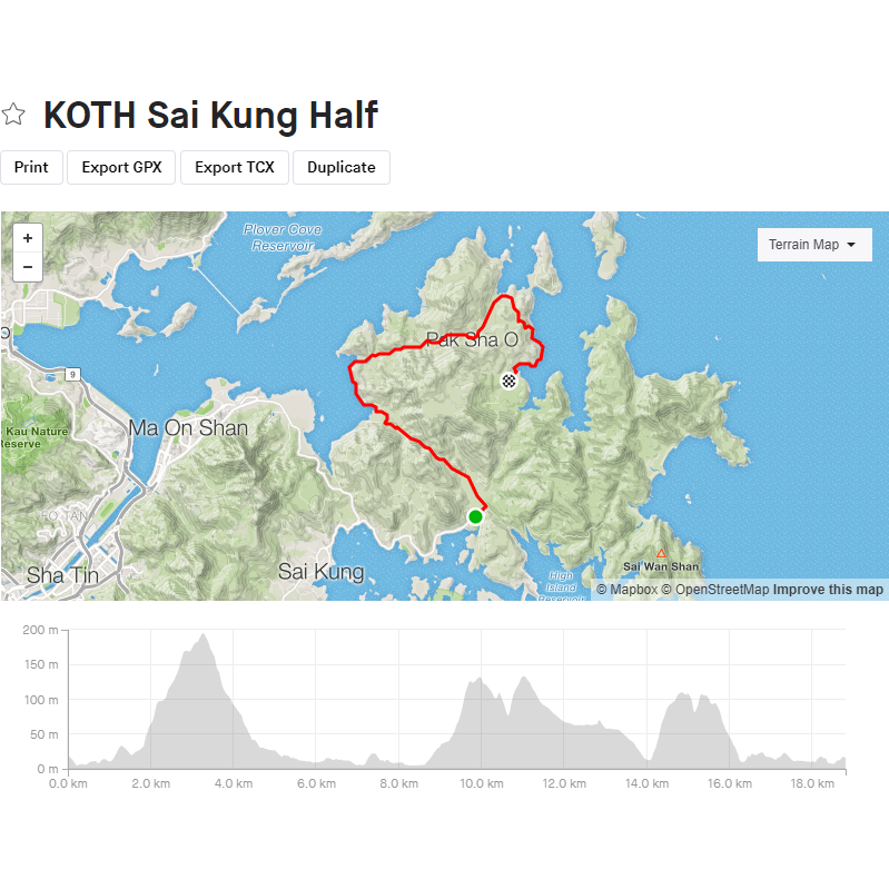 King of the Hills Sai Kung Half (2020), GPX file, Gone Running - Gone Running